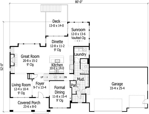 Craftsman Floor Plan - Main Floor Plan #51-500