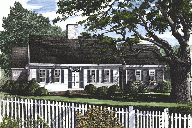 Colonial Exterior - Front Elevation Plan #137-163