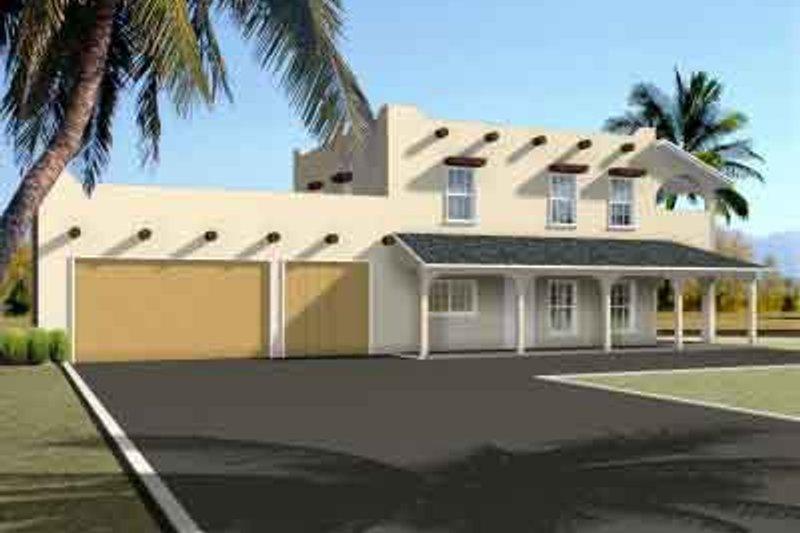Adobe / Southwestern Style House Plan - 2 Beds 2 Baths 1594 Sq/Ft Plan #1-1303 Exterior - Front Elevation