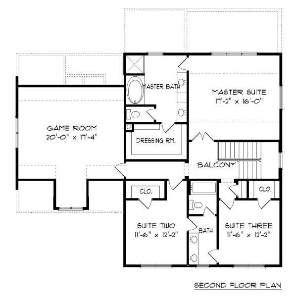 Farmhouse Floor Plan - Upper Floor Plan Plan #413-878