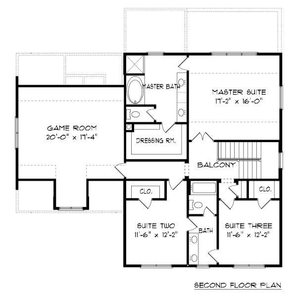 Farmhouse Floor Plan - Upper Floor Plan Plan #413-878