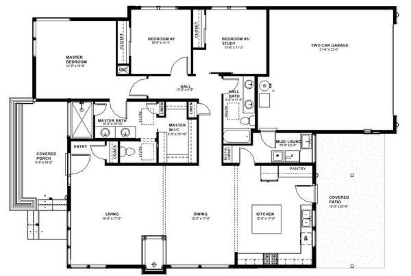 Modern Floor Plan - Main Floor Plan #895-84