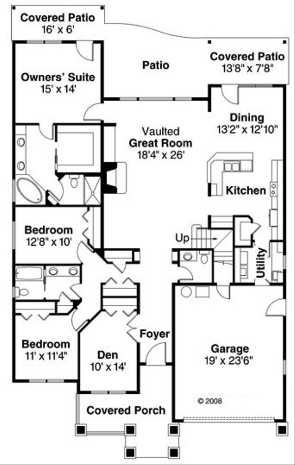 Craftsman Floor Plan - Main Floor Plan Plan #124-750