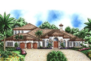 Mediterranean Exterior - Front Elevation Plan #27-472