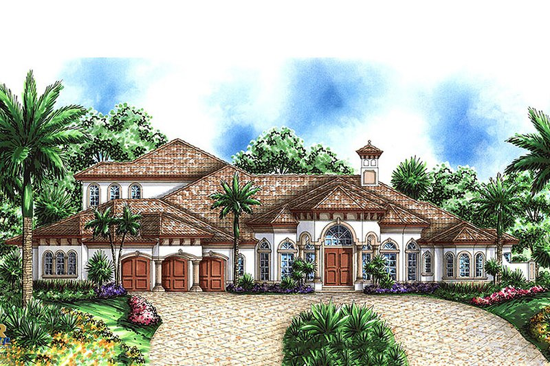 Mediterranean Style House Plan - 5 Beds 5 Baths 7760 Sq/Ft Plan #27-472 Exterior - Front Elevation