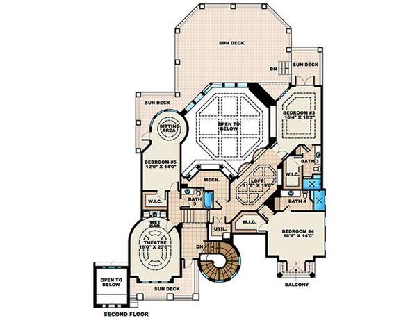 Mediterranean Floor Plan - Upper Floor Plan Plan #27-478