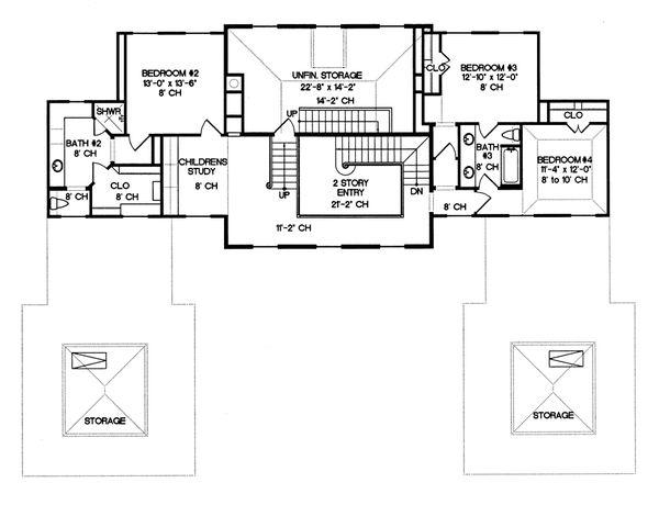 European Floor Plan - Upper Floor Plan Plan #20-1117