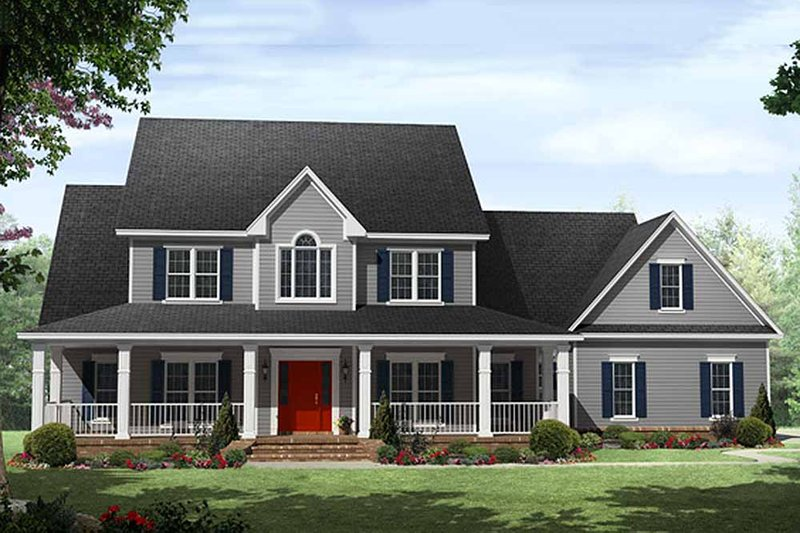 Country Style House Plan - 4 Beds 3.5 Baths 3000 Sq/Ft Plan #21-323 Exterior - Front Elevation