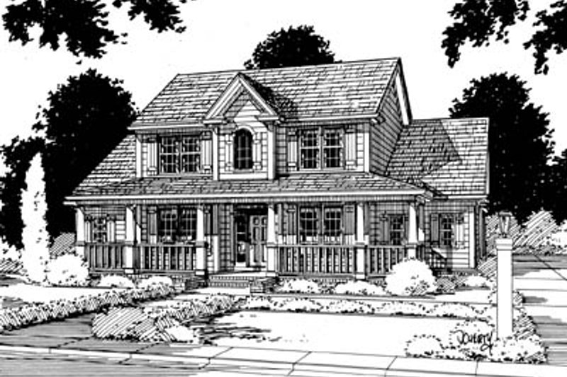 Country Style House Plan - 3 Beds 2.5 Baths 2101 Sq/Ft Plan #20-235 Exterior - Front Elevation