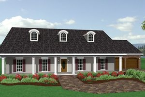 Southern Exterior - Front Elevation Plan #44-144