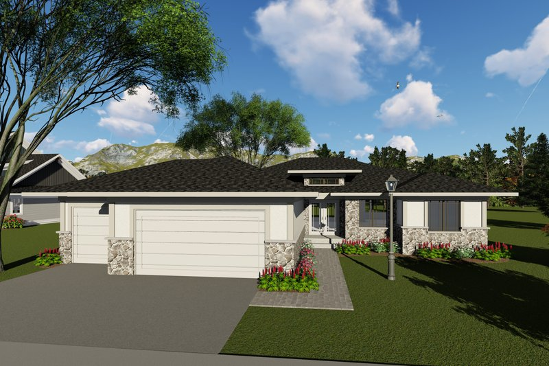 Modern Style House Plan - 2 Beds 2 Baths 1959 Sq/Ft Plan #70-1417 Exterior - Front Elevation