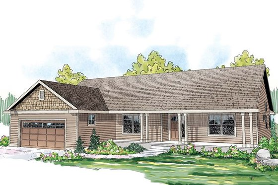 Ranch Exterior - Front Elevation Plan #124-862