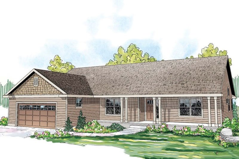 Ranch Style House Plan - 3 Beds 2 Baths 1884 Sq/Ft Plan #124-862 Exterior - Front Elevation