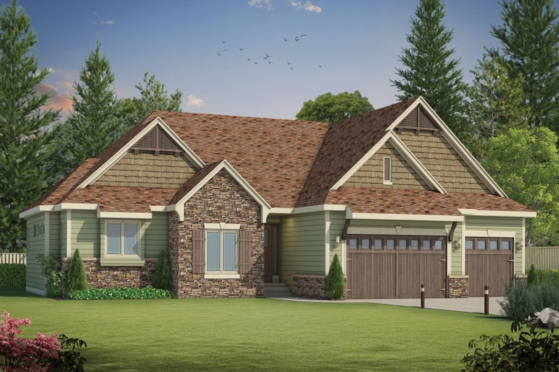Craftsman Exterior - Front Elevation Plan #20-2199