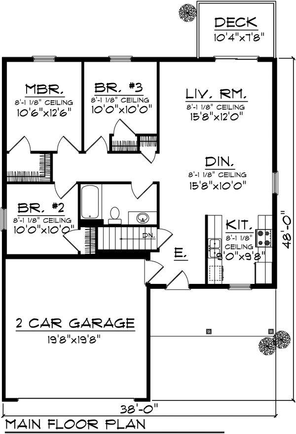 Ranch Floor Plan - Main Floor Plan Plan #70-1017