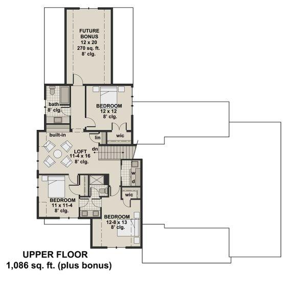Farmhouse Floor Plan - Upper Floor Plan Plan #51-1132