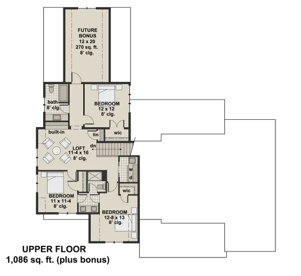 Farmhouse Floor Plan - Upper Floor Plan #51-1132
