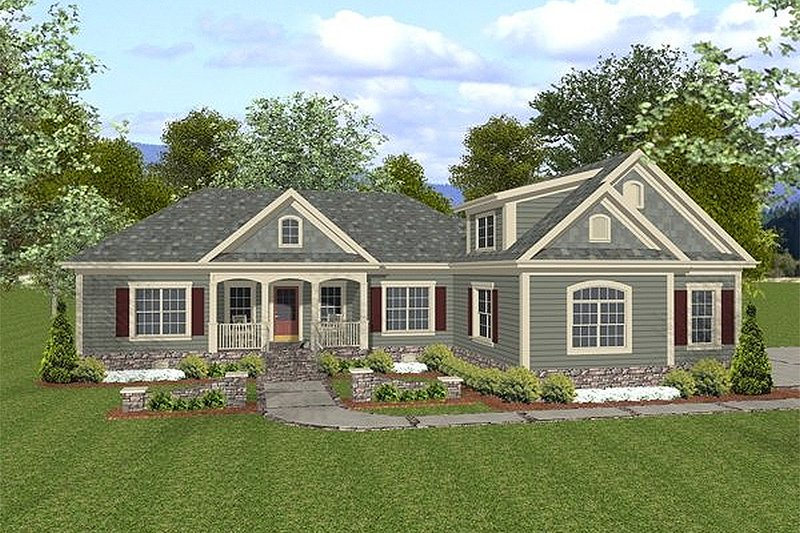Traditional Style House Plan - 4 Beds 3 Baths 1800 Sq/Ft Plan #56-558 Exterior - Front Elevation