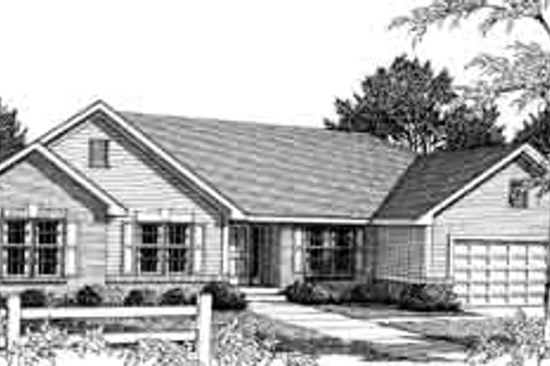 Ranch Style House Plan - 3 Beds 2 Baths 1810 Sq/Ft Plan #70-612 Exterior - Front Elevation