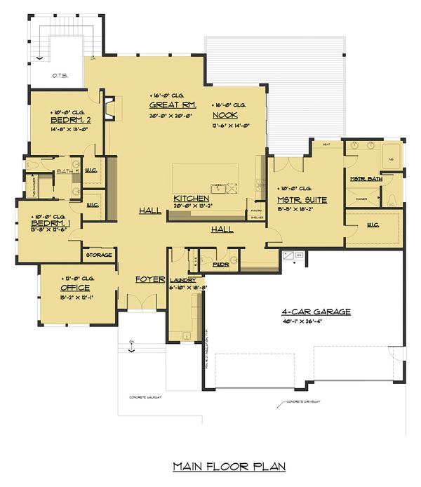 Prairie Floor Plan - Main Floor Plan Plan #1066-79