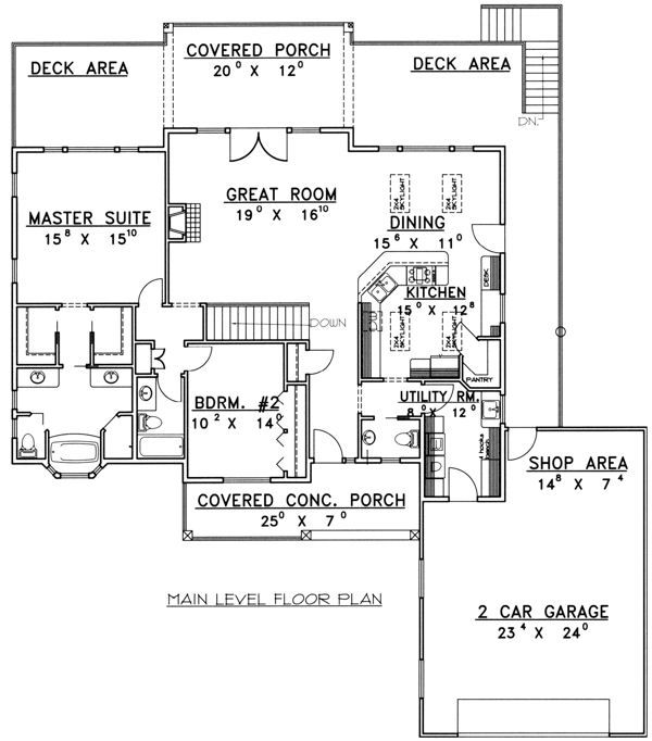 Ranch Floor Plan - Main Floor Plan Plan #117-575