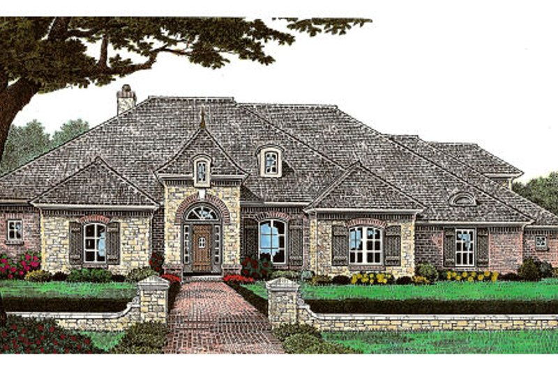European Style House Plan - 3 Beds 2.5 Baths 2532 Sq/Ft Plan #310-648 Exterior - Front Elevation