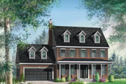 Colonial Style House Plan - 3 Beds 2 Baths 1718 Sq/Ft Plan #25-4678 Exterior - Front Elevation
