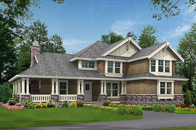 Craftsman Style House Plan - 4 Beds 3.5 Baths 3590 Sq/Ft Plan #132-186 Exterior - Front Elevation