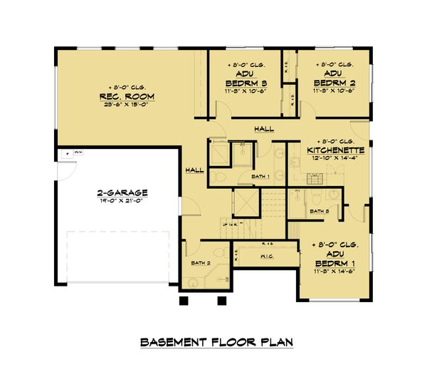 Architectural House Design - Modern Floor Plan - Lower Floor Plan #1066-105