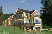 Country Style House Plan - 4 Beds 3.5 Baths 3621 Sq/Ft Plan #51-561 Exterior - Rear Elevation
