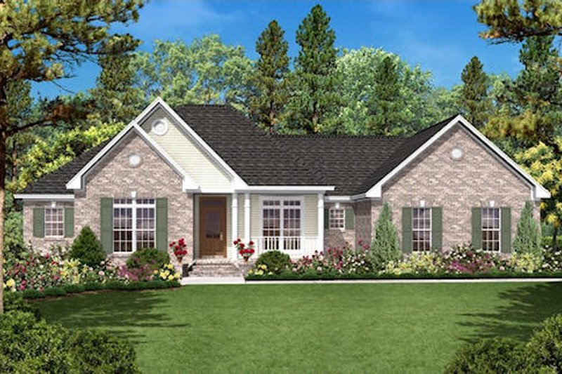 Ranch Exterior - Front Elevation Plan #430-17