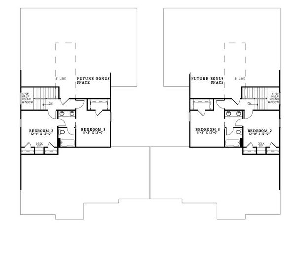 Traditional Floor Plan - Upper Floor Plan Plan #17-2401