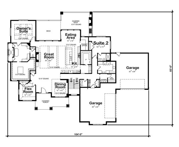 Craftsman Floor Plan - Main Floor Plan Plan #20-2338