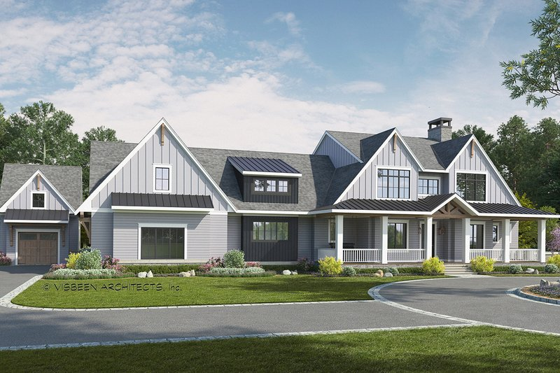 Farmhouse Style House Plan - 4 Beds 3.5 Baths 4414 Sq/Ft Plan #928-340 Exterior - Front Elevation