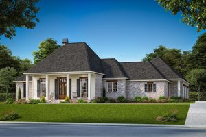 Southern Exterior - Front Elevation Plan #1074-49