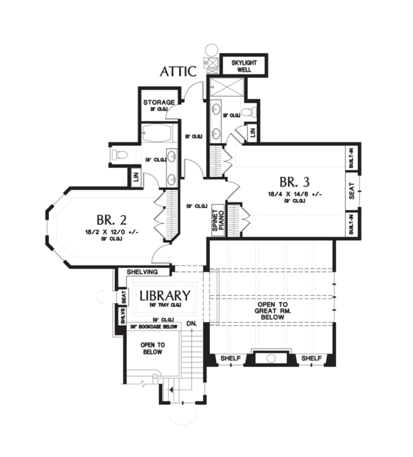 European Floor Plan - Upper Floor Plan Plan #48-625