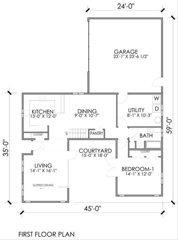 Modern Floor Plan - Main Floor Plan #518-9