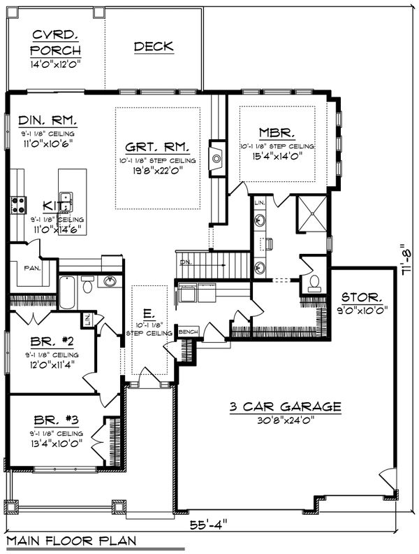 Ranch Floor Plan - Main Floor Plan Plan #70-1485