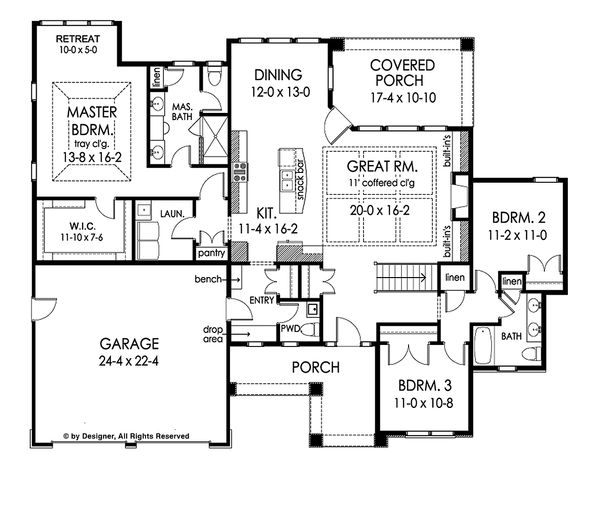 Ranch Floor Plan - Main Floor Plan Plan #1010-212