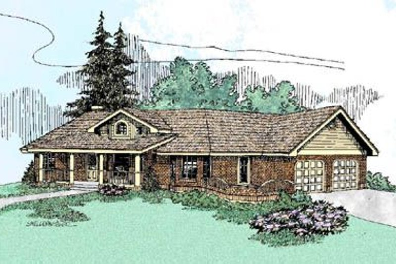 Country Style House Plan - 2 Beds 2 Baths 1558 Sq/Ft Plan #60-226 Exterior - Front Elevation