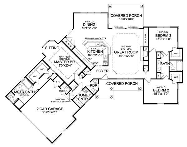 Craftsman Floor Plan - Main Floor Plan #456-22