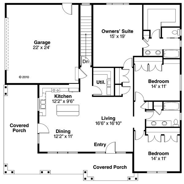 Cabin Floor Plan - Main Floor Plan #124-854