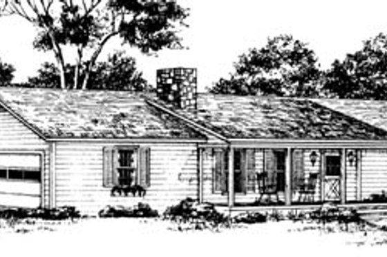 Ranch Exterior - Front Elevation Plan #10-123