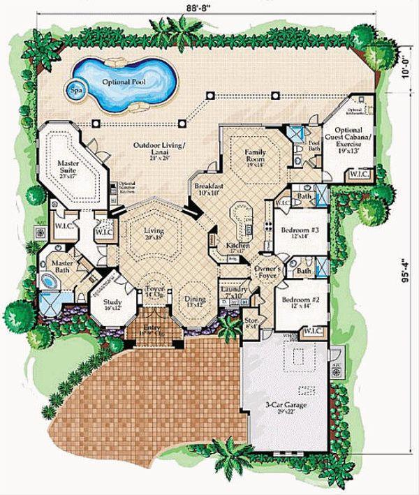 Mediterranean Floor Plan - Main Floor Plan Plan #27-229