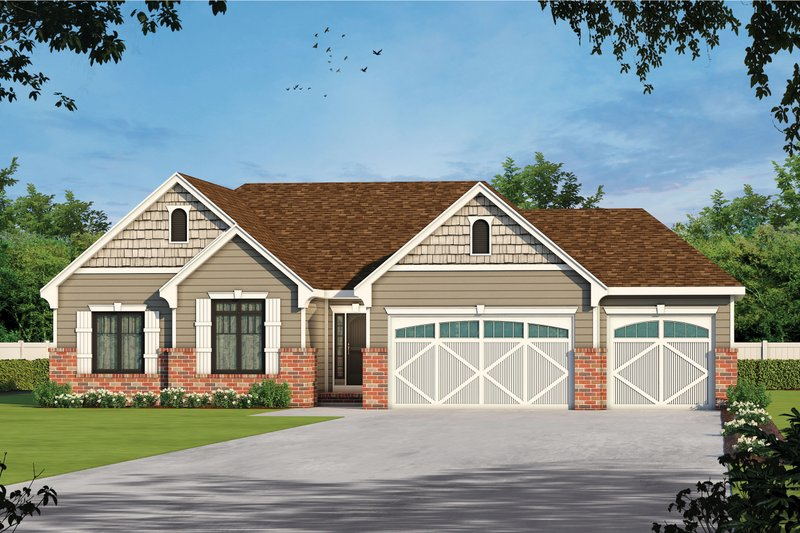 Architectural House Design - Ranch Exterior - Front Elevation Plan #20-2295
