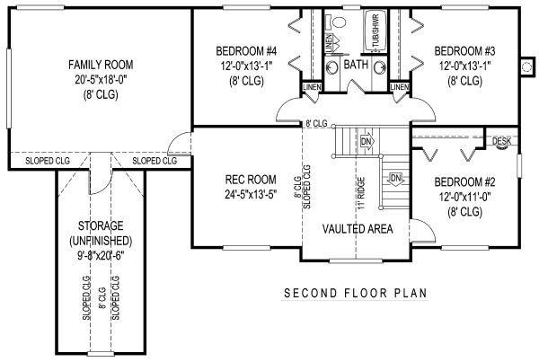 Country Floor Plan - Upper Floor Plan #11-231