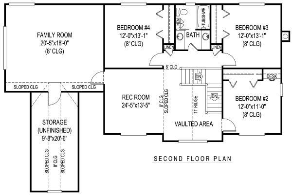Country Floor Plan - Upper Floor Plan #11-231