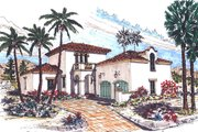 Mediterranean Style House Plan - 3 Beds 2.5 Baths 1826 Sq/Ft Plan #76-107 Exterior - Front Elevation