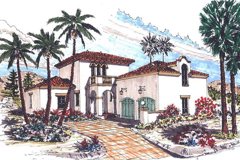 Dream House Plan - Mediterranean Exterior - Front Elevation Plan #76-107