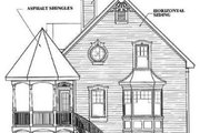 Victorian Style House Plan - 3 Beds 2 Baths 1597 Sq/Ft Plan #23-219 Exterior - Rear Elevation